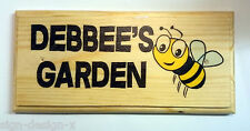 Personalised Garden Plaque / Sign / Gift - Debbees Debbie's Bee Happy Home House
