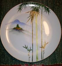 Kutani White Gold Edge Bamboo and Mountains trim in Gold Design Dinner Plate