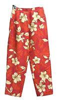 Talbots Petites Red Capri Pants Size 2 2P Silk Linen Blend Floral Lined Cropped