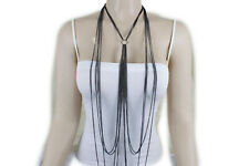 Set Long Necklace Ring Charm Sexy Look New Women Pewter Color Body Chain Jewelry