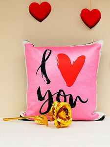 Heart love Symbol Printed Pink Square Cushon cover for Home Décor