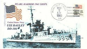 USS BAGLEY DD-386 Pearl Harbor 1941 Destroyer Blue Photo Naval, Handstamp PM