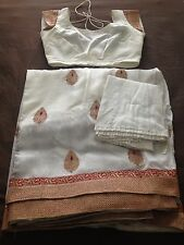 White Red Indian Sari Saree With Stitched Blouse Art Silk Medium