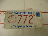 1993 93 Massachusetts MA License Plate 772 Handicapped the Spirit of America