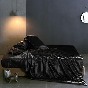19 Momme Seide Bettbezug Set 3 Teilig Spielraum Seidenbettwäsche Schwarz 220x240