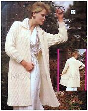 """Knitting Pattern • Ladies Cable Coat • Jacket • Elegant • Chic • Aran • 34-38"""""""