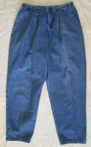 Lee High-rise Side-elastic pleated Medium wash BLUE relaxed jeans 16 Med ~ NICE