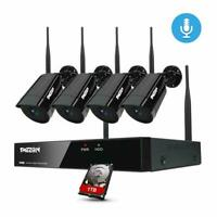Audio Wireless WIFI Camera 1080P Outdoor Indoor CCTV Security System 4CH NVR 1TB