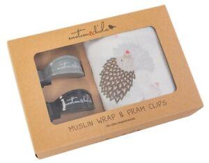Emotion & Kids Muslin Wrap in Hedgehog with matching setof Pram Clips