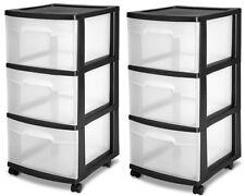3 Drawer Organizer Set 2 Cart Craft Plastic Storage Container Rolling Bin Black