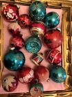 LOT 17 VINTAGE CHRISTMAS ORNAMENTS MERCURY Glass  Mica Stencil Figural Teal Red