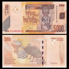 Congo 5000 5,000 Francs, 2013, P-102 NEW, UNC, Banknotes, Original