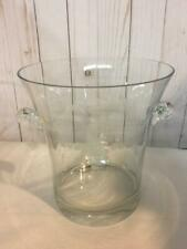 Vintage Etched Glass Grapes Ice Bucket & 2 Champagne Flutes