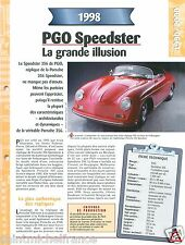 PGO Speedster 356  4 Cyl. 1998 France VW Germany Car Auto Voiture FICHE FRANCE