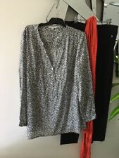 TARGET COLLECTION Grey Taupe Animal Print Long Sleeve Over Shirt Tunic Top 18