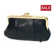 Ladies Black Leather Wallet Pouch Purse Big Coin Super Soft Clutch Clip Top