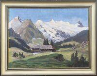 Impressionist O. Stoffler Sonnige Alpenlandschaft mit Haus Deutscher Maler