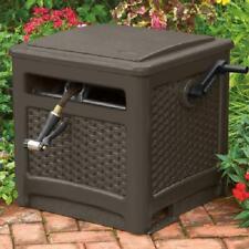 Suncast Brown Garden Storage Watering 225 ft. Smart Trak Wicker Hideaway