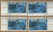 SCOTT 1480-83  BOSTON TEA PARTY with ALL FOUR PL BLOCKS    MNH FACE VALUE $1.28