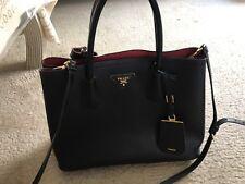 PRADA Saffiano Cuir Double Bag Covered Strap Medium Black Nero/Red Tote used