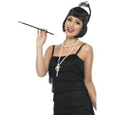 Womens Girls 1920's 30's Flapper Instant Kit Wig Necklace Headpiece Cig Holder