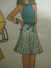 Vintage McCalls 3485 SUIT w/ HALTER TOP w/ WRAP FRONT TIE Sewing Pattern Wom,en