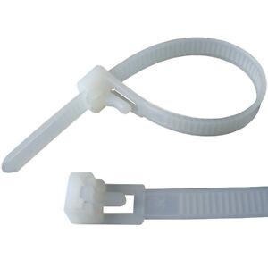 Releasable / Reusable Cable Ties Black Natural Nylon Plastic Zip Tie Wraps