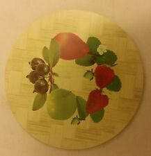 1 RARE Natural Bamboo Heat Pad, Kitchen Decor, FRUITS # 2, round