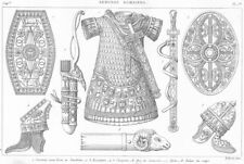 ROMAN ARMOUR. Breastplate sword belt Shield Helmet bow quiver Aries 1875 print