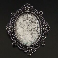 6pcs Vintage Silver Alloy Cameo Setting Cover Base Bezel Tray Pendants 05847