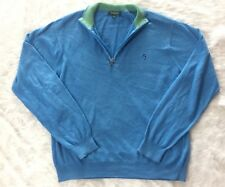 Bobby Jones Sweater, Blue With Green Collar, Large