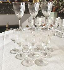 12 Anciens Verres à Vin Blanc Cristal BACCARAT RARE Modèle MOLIERE Art Nouveau