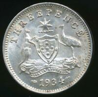 Australia, 1934 Threepence, 3d, George V (Silver) - Uncirculated