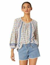 Lucky Brand Women's V-Neck Printed and Shirred TOP Size X-Small XS