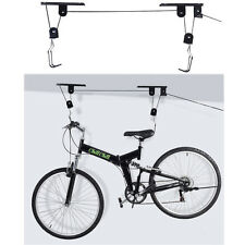 New Bike Bicycle Lift Ceiling Mounted Hoist Storage Garage Hanger Pulley Rack