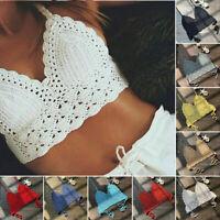 Women Crochet Lace Vest Crop Top Knitted Bra Boho Beachwear Bikini Tank Holiday