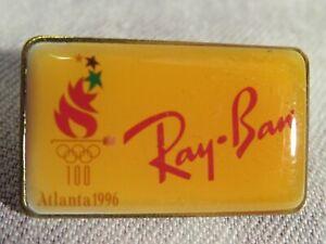 1996 Olympics ATLANTA Lapel Pin RAY BAN  Torch w/OLYMPIC RINGS- Used