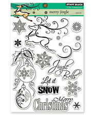 New Penny Black MERRY JINGLE Clear Stamp Christmas Holly Ornaments Snow Deer