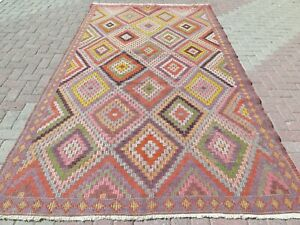 """Vintage Turkish Sardes Kilim, Area Rugs, Antique Wool Rug, Floor Carpet 71""""X128"""""""