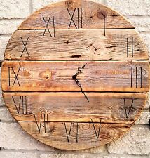 Huge 70cm Round Board Handmade Rustic Drift Wood Shabby Chic Vintage Wall Clock