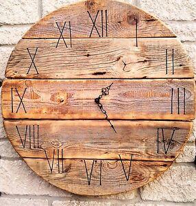 Huge 70cm Round Board Handmade Rustic Driftwood Bespoke Wall Clock Barn style