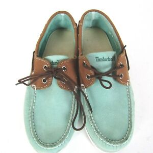 Timberland Boat Shoes Men's size 8.5 M 2-Eye Suede Aqua Teal Brown Leather