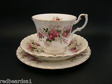 ROYAL ALBERT LAVENDER ROSE Vintage English China TRIO Cup Saucer Plate Montrose