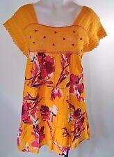 Lane Bryant Plus Size Top Blouse Yellow Pink Floral Boho Tiered Orange Lace 16
