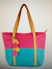 SALE Large Colorblock Tote NWT - Turquoise with Raspberry