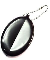 1pc black color soft rubber squeeze Coin Holder keychain money change OVAL shape