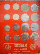 India 16 Old Coin Set Card Mounted Souvenir Set Indian Collectible Anna Paise