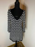 White House Black Market Black/White Chevron Sweater Knit Dress Size S