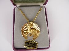 Unicorn Charm Gold Tone Necklace 22KT Gold Electroplate Diamond Cut USA Seller