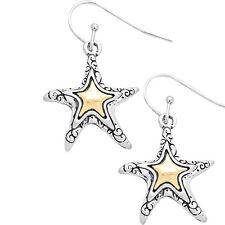 Two Tone Metal Starfish Fashionable Earrings - Vine Filigree - Fish Hook